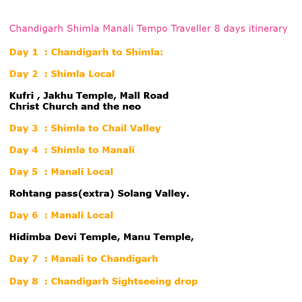 8 days tempo traveller shiml manali