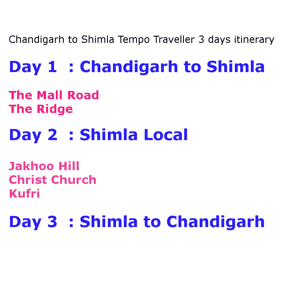 chandigarh to shimla 10 seater tempo traveller