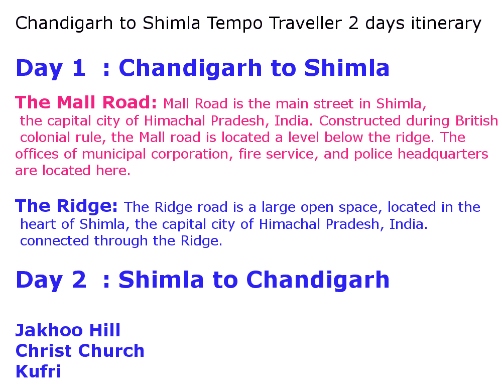 chandigarh to shimla 8 seater tempo traveller